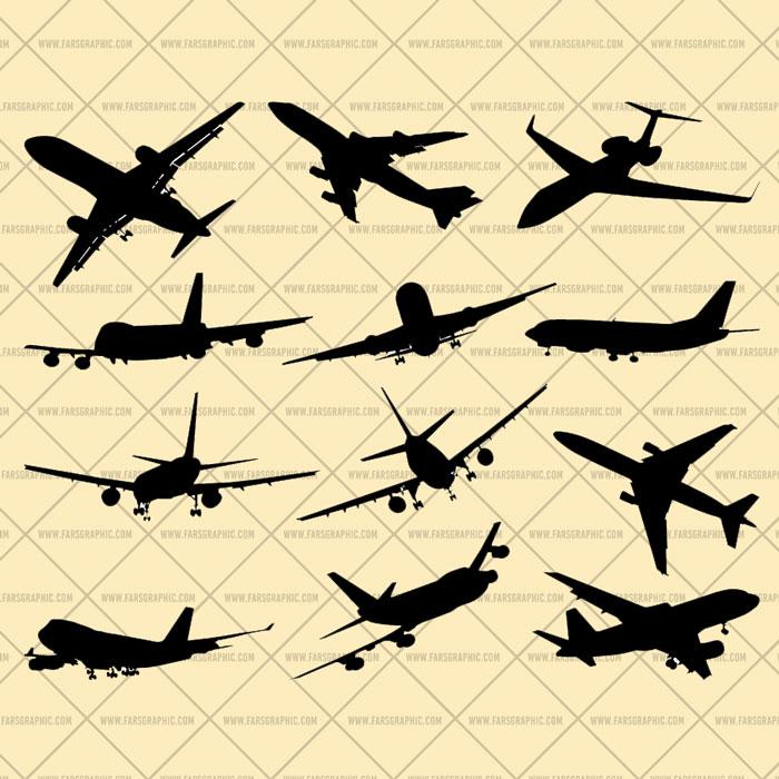 مجموعه وکتور هواپیما از جهات مختلف