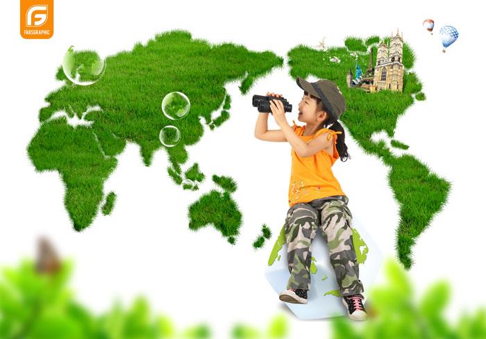 دانلود فایل لایه باز کودک در طبیعت