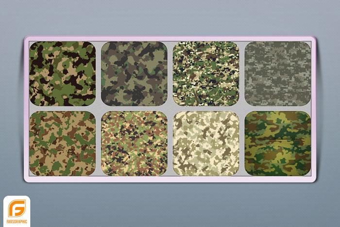 دانلود مجموعه وکتور پارچه لباس های نظامی و چریکی
